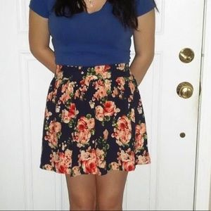 Forever 21 Navy Blue and Pink Floral Skirt